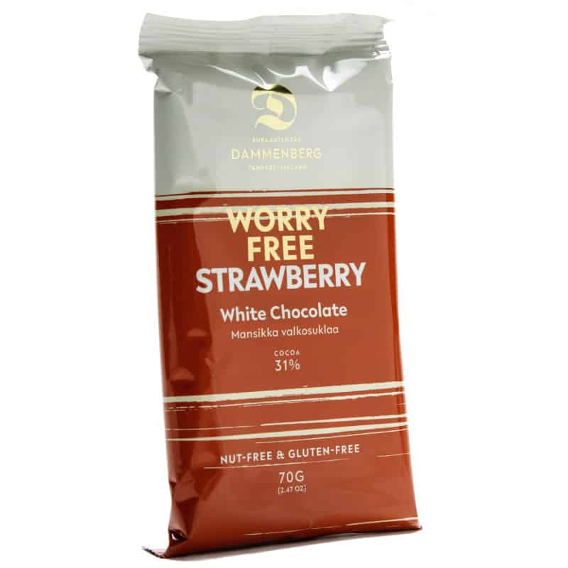 Tablette de chocolat blanc et à la fraise sans gluten