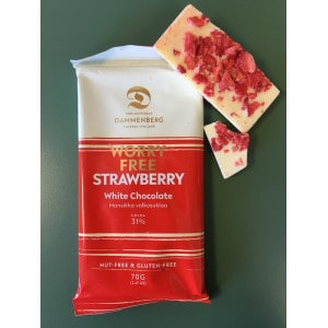 Tablette de chocolat blanc et à la fraise sans gluten produit